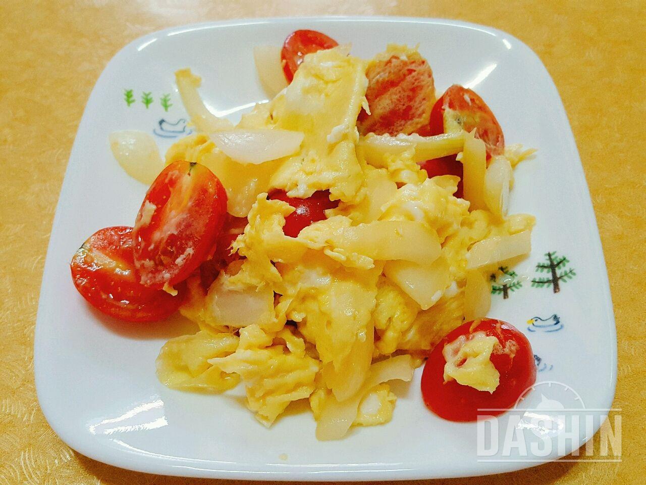 달걀 스크램 토마토 양파 볶음
