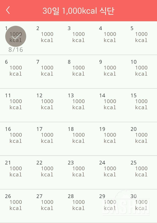 30일 1,000kcal 식단 1일차 성공!