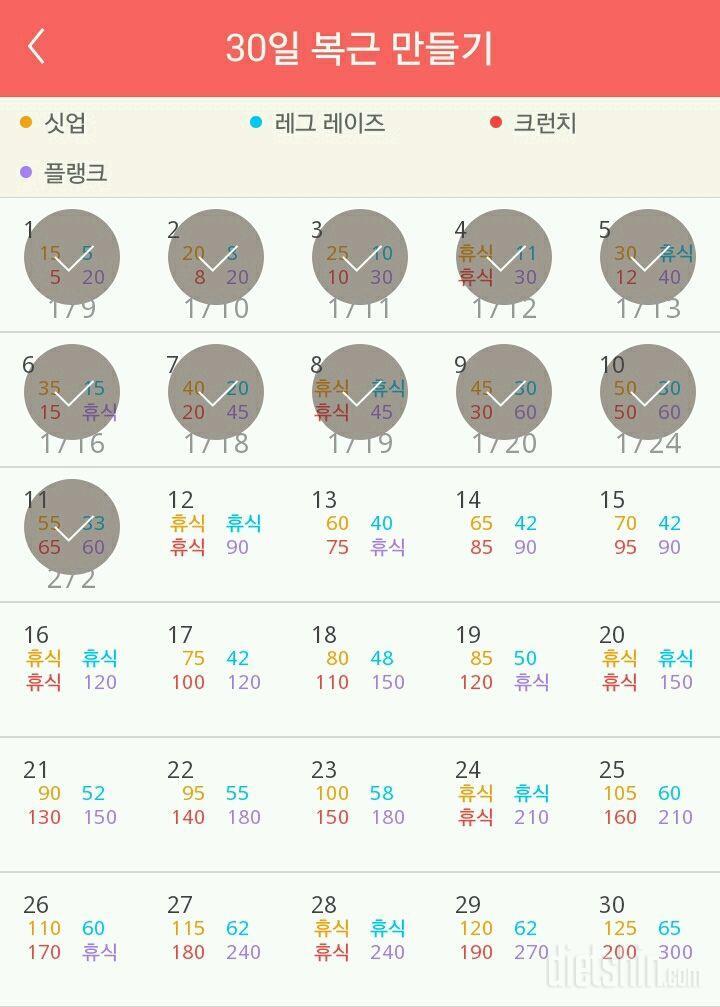 30일 복근 만들기 71일차 성공!