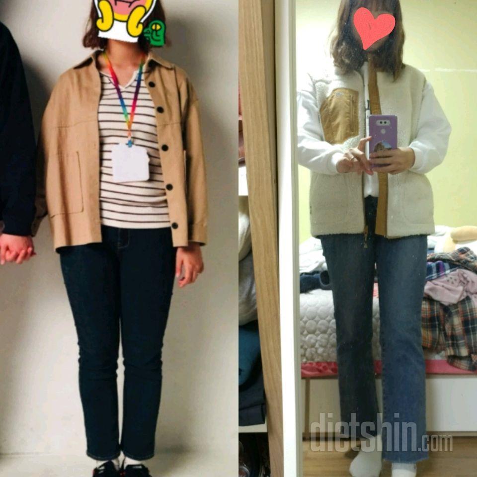 61.0kg-&gt\;55.2kg (2달소요) 옷 핏 비교