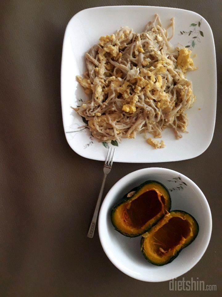 팽이버섯 계란 볶음🍄🥚 + 미니밤호박 🍠