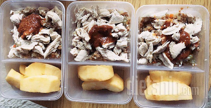 야채귀리닭가슴곤약밥&사과