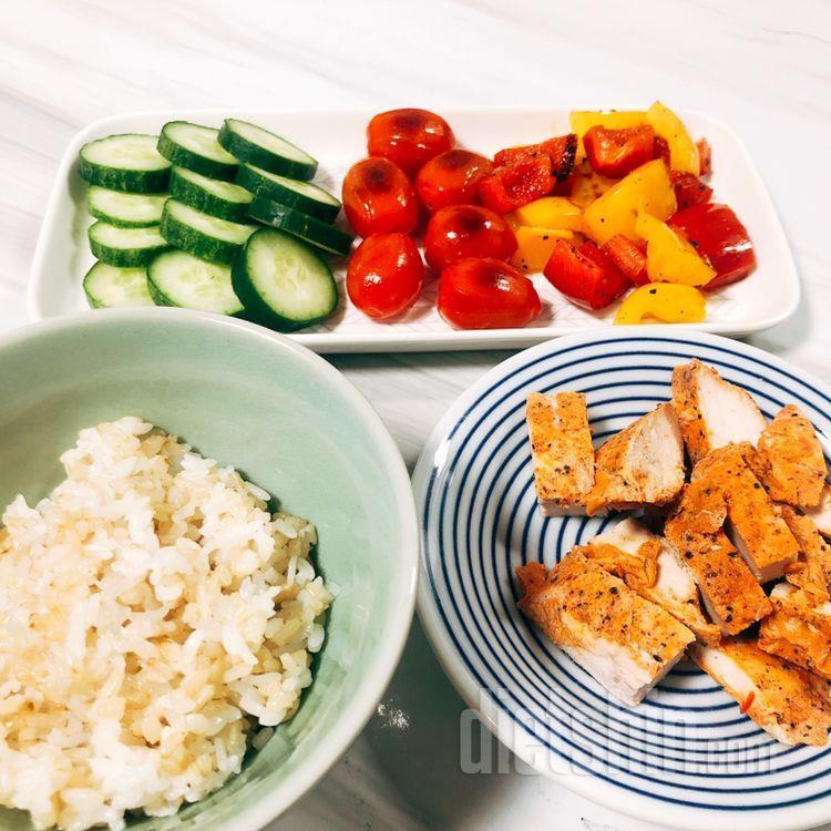 현미밥+닭찌+야채