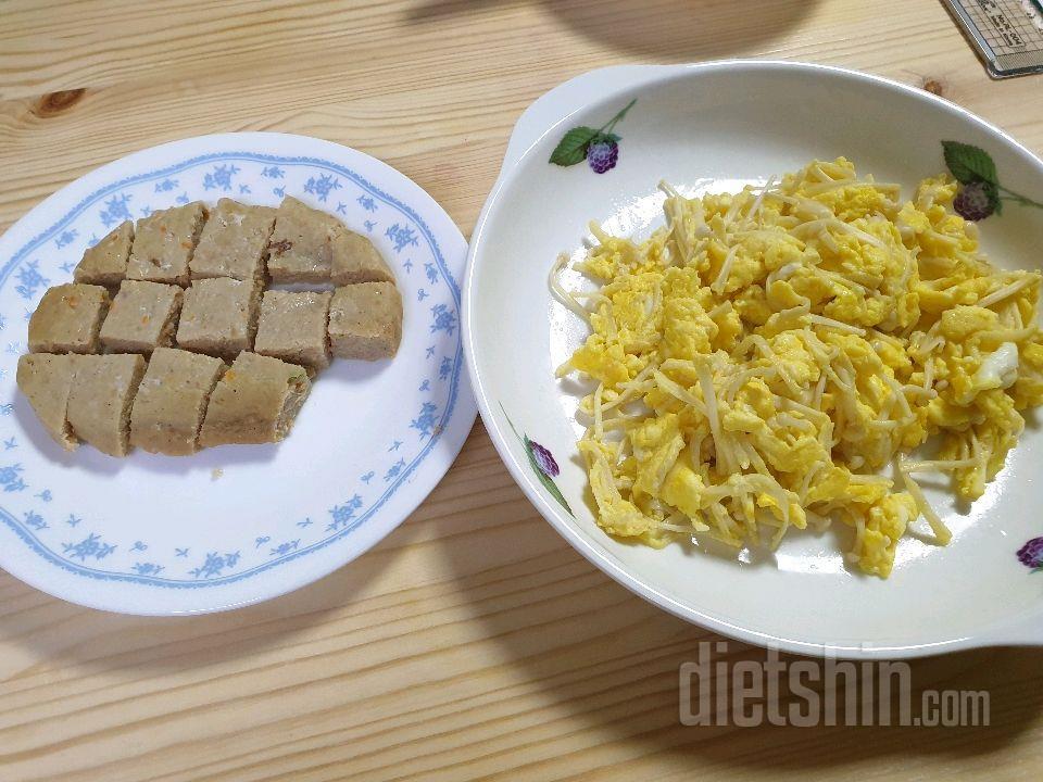 닭가슴살스테이크, 계란에 팽이버섯 볶음