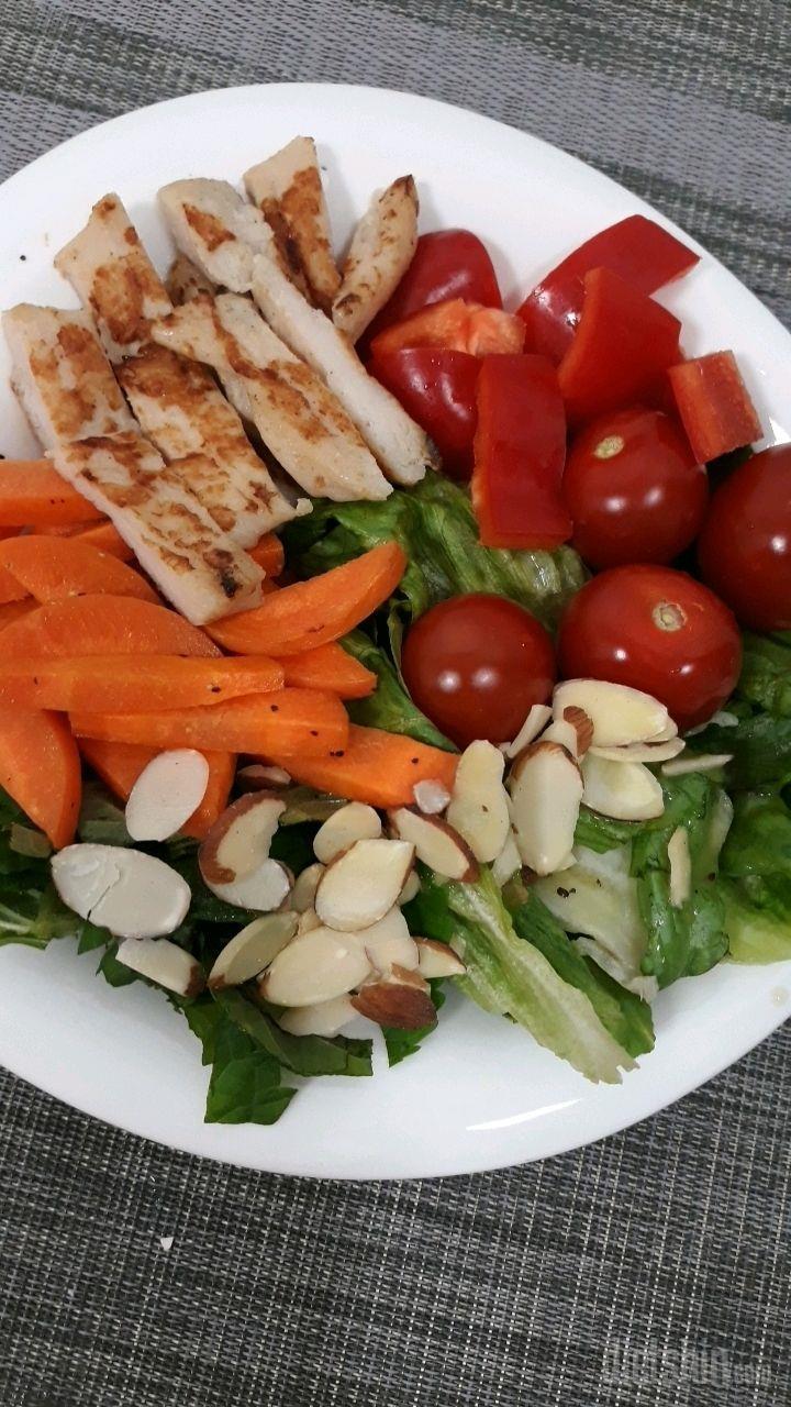 점심은 닭가슴살 샐러드