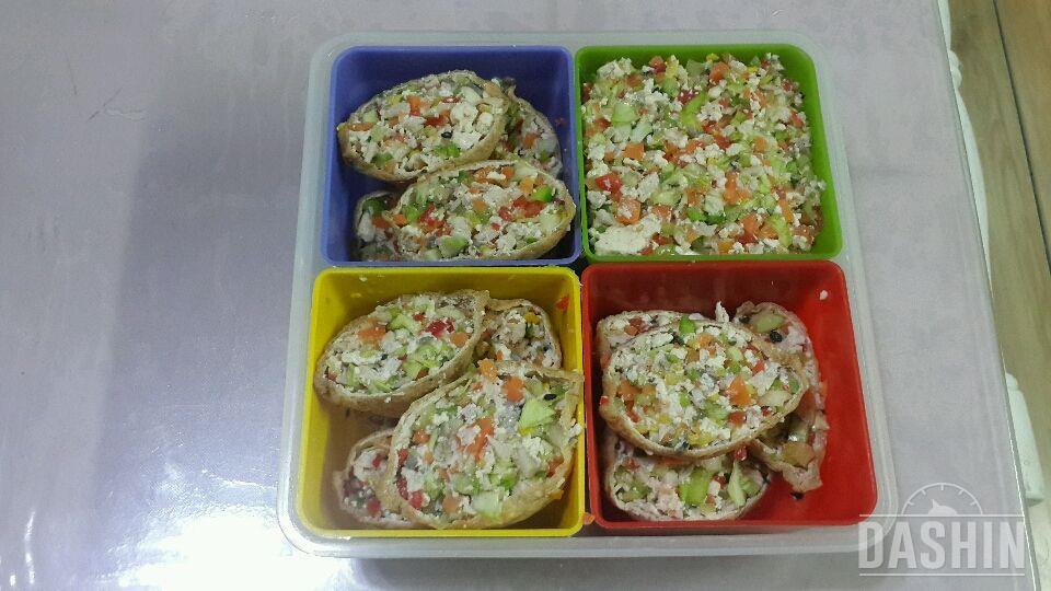 두부야채가득닭가슴살 유부초밥