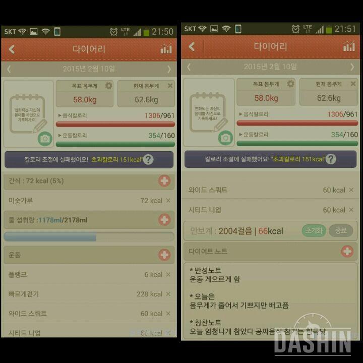 ▲▲ 10일차  65.8kg   →→→   62.6kg