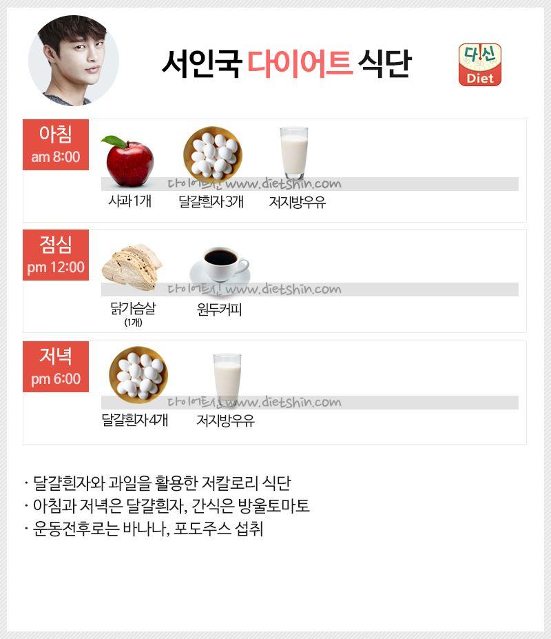 서인국 다이어트 식단표 (14kg 감량 식단)