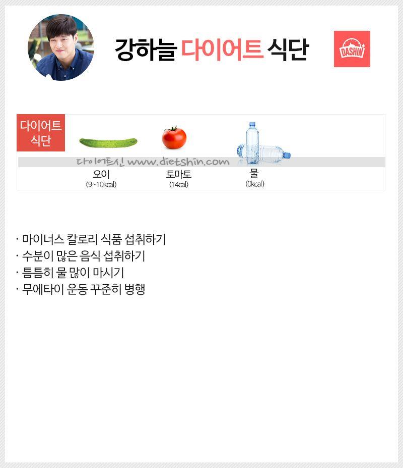 배우 강하늘 다이어트 식단표 (마이너스 칼로리 섭취)