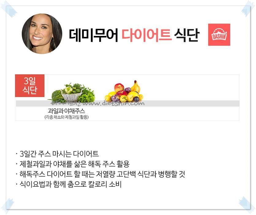 헐리웃 배우 `데미무어` 식단표 (해독주스 다이어트)