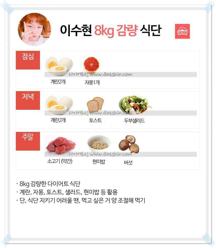 악동뮤지션 이수현 식단표 (8kg 감량 식단)