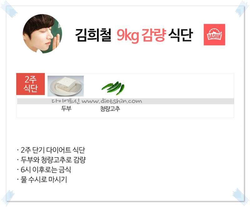 슈퍼주니어 김희철 식단표 (9kg 감량 식단)