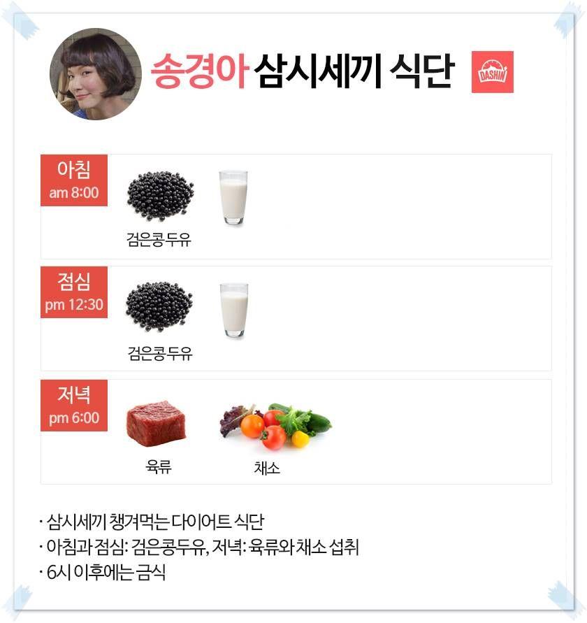 모델 송경아 식단표 (삼시세끼 식단)