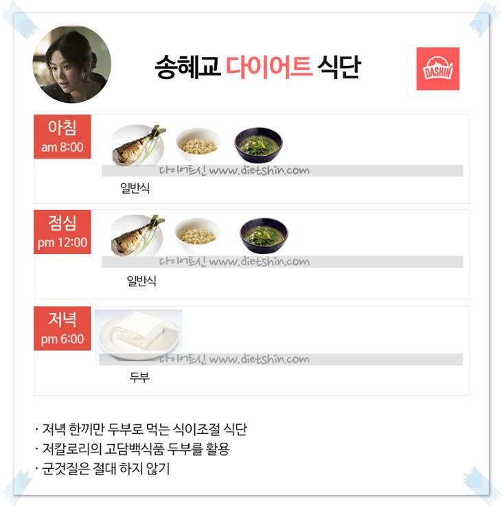 배우 송혜교 식단표 (두부 다이어트)