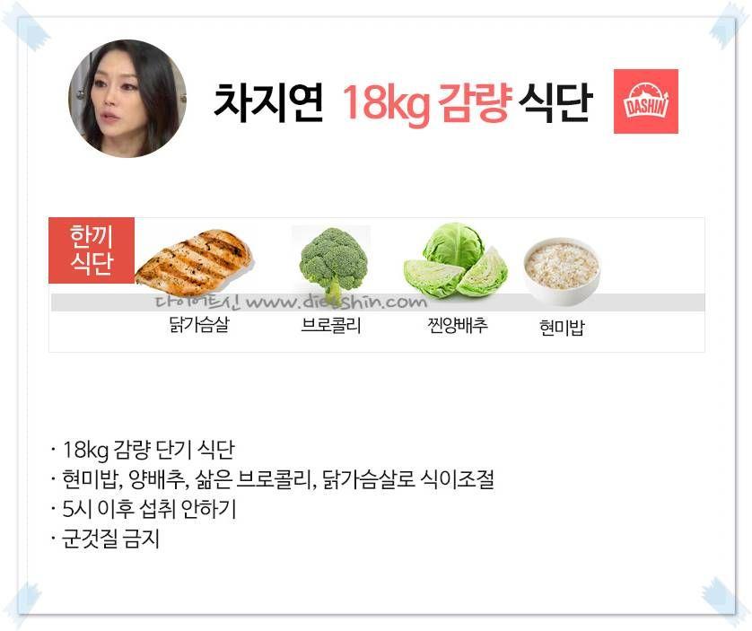 뮤지컬 배우 차지연 식단표 (18kg 감량)