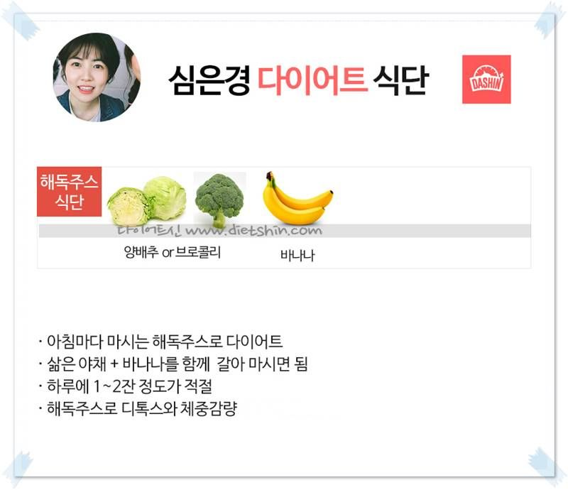 배우 심은경 식단표 (해독주스 다이어트 )