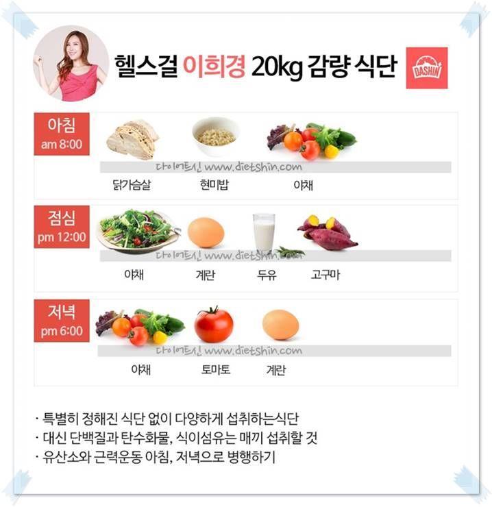 이희경 다이어트 식단 (20kg 감량)