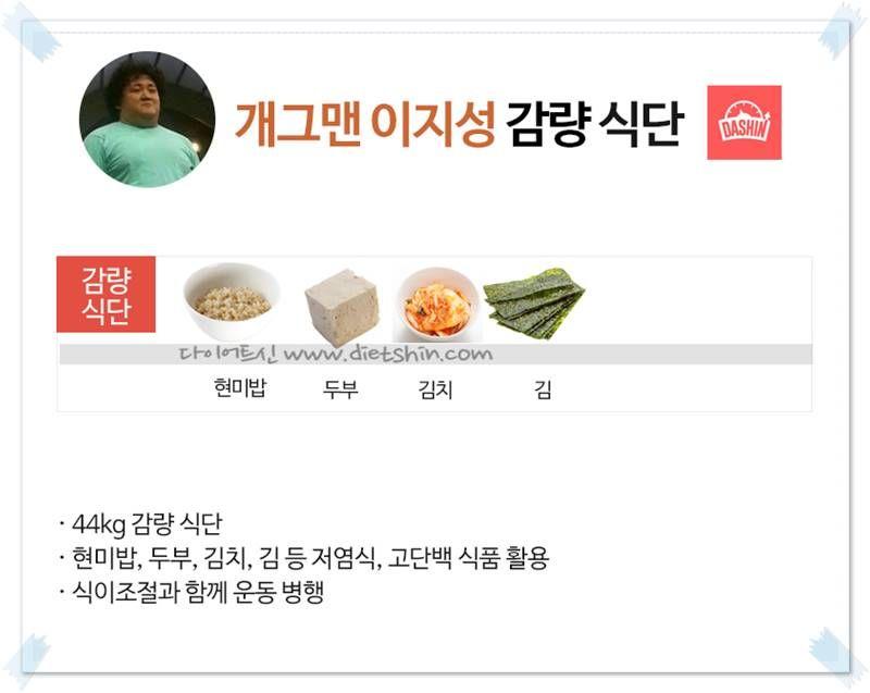 개그맨 이지성 식단 (44kg 감량)