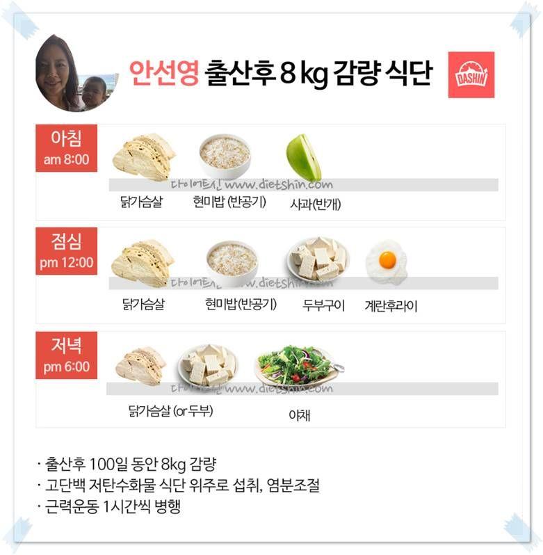 방송인 안선영 식단(100일동안 8kg 감량)