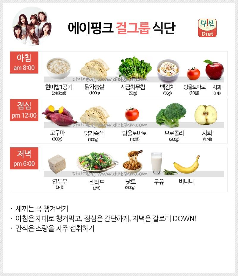 에이핑크 식단표 (걸그룹 식단)