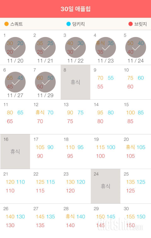 30일 애플힙 7일차 성공!