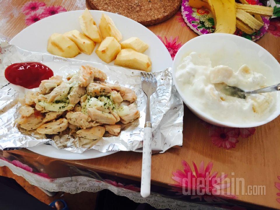 닭가슴살+치즈 ,사과, 바나나뜨바록(러시아음식)