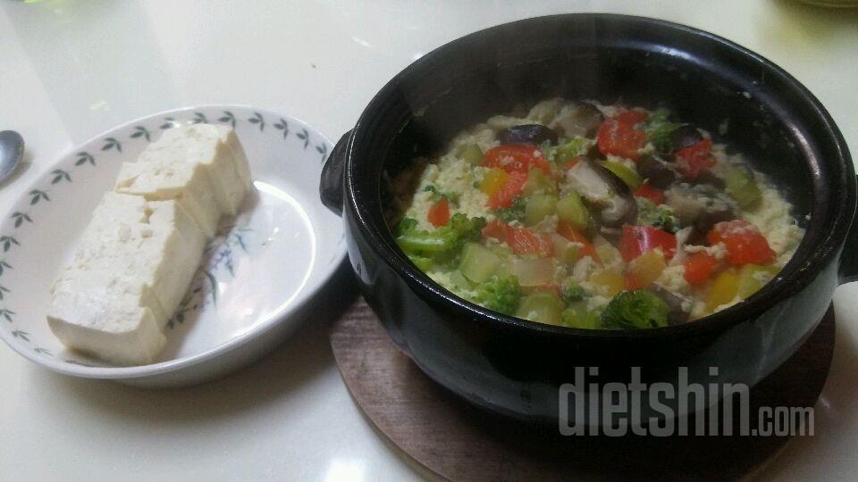 삶은 달걀 지겨워~ 야채 달걀찜과 두부! 약 260kcal