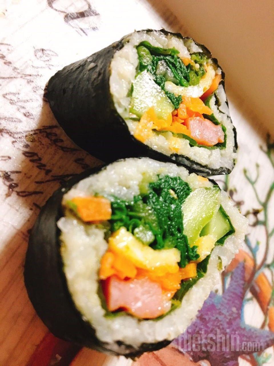 다이어트 김밥! 한줄에 161 칼로리!!