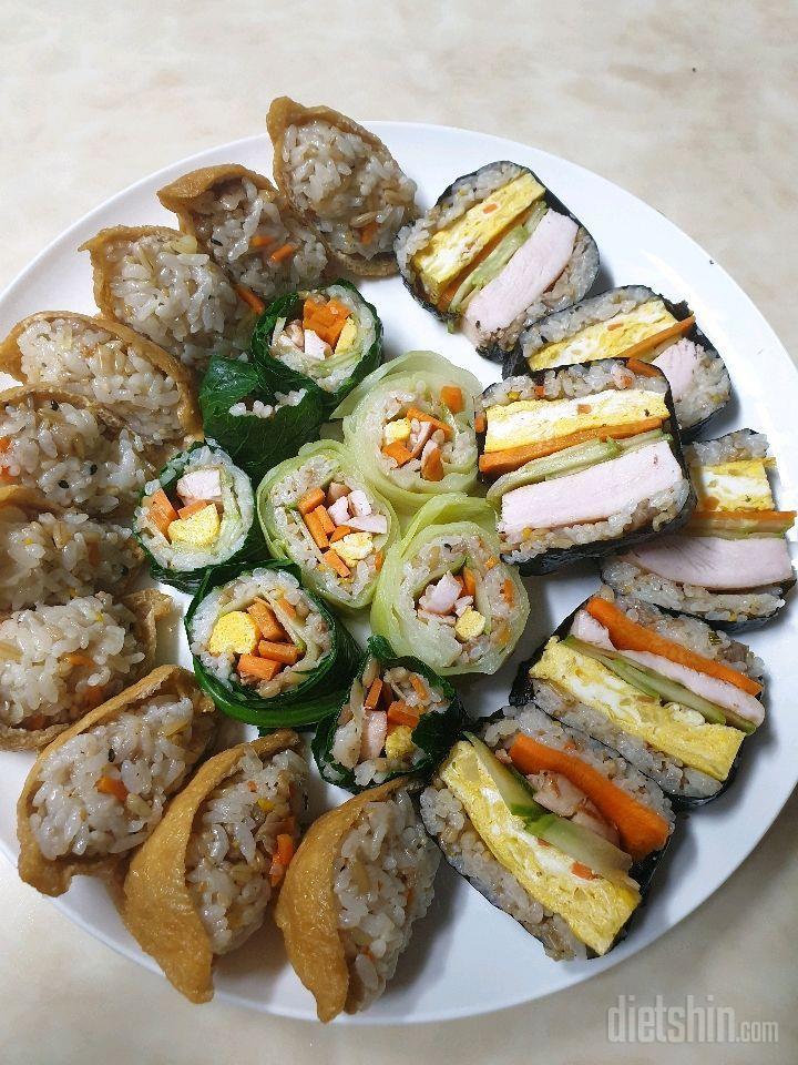 닭가슴살김밥과 유부초밥