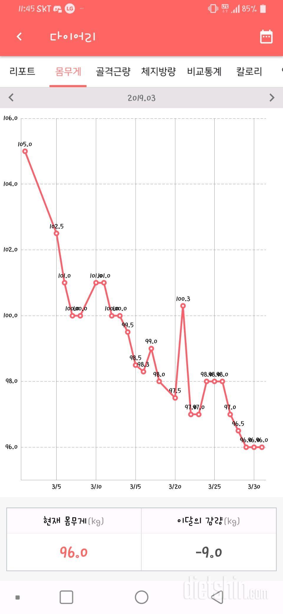 105kg/여 3월1일부터 감량 도전기3 34일차