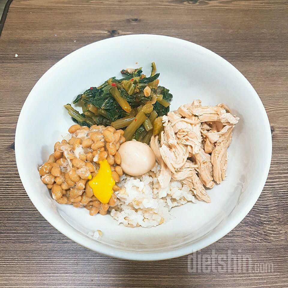닭가슴살장조림나또열무비빔밥