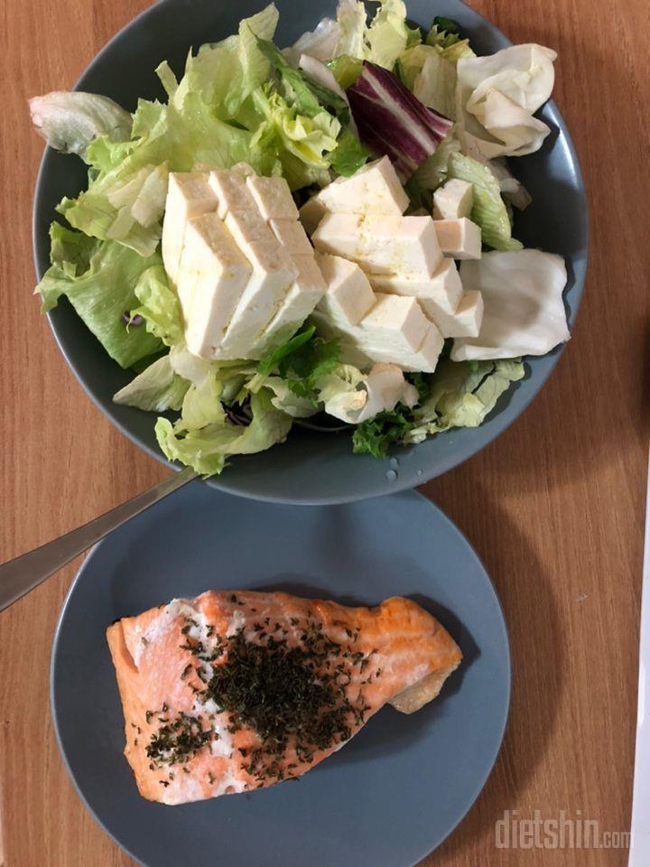연어구이(에어프라이어), 두부샐러드(올리브유)