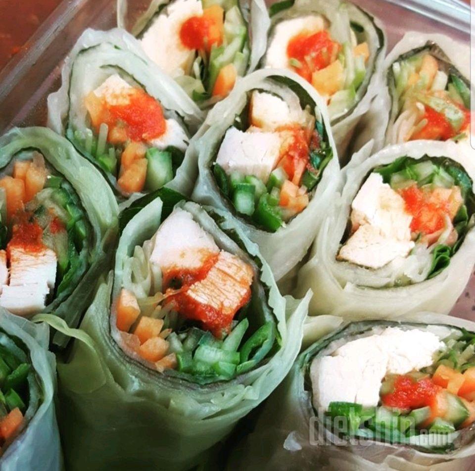 점심식단(양배추닭가슴살말이)
