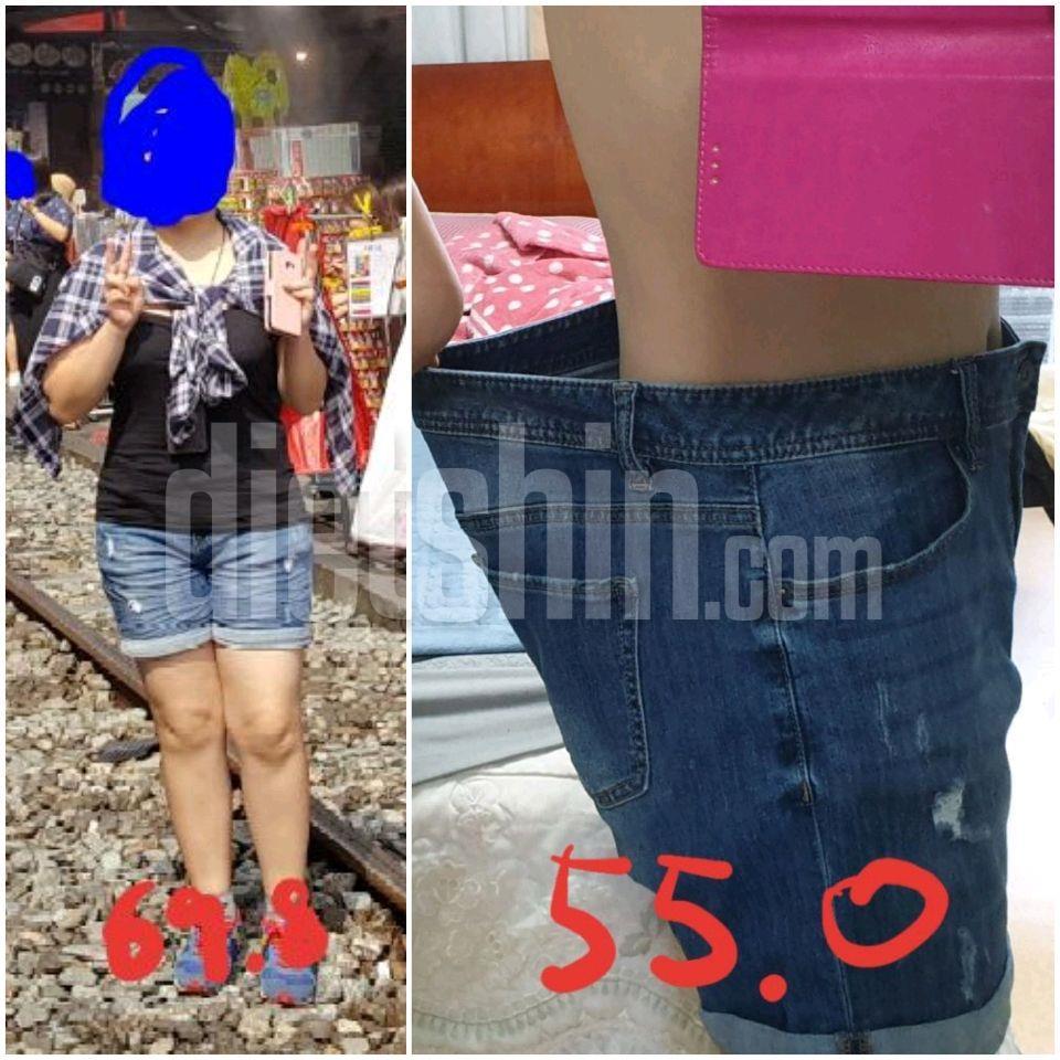 5개월 다이어트(키 160. 체중 69.8->\;55.0)