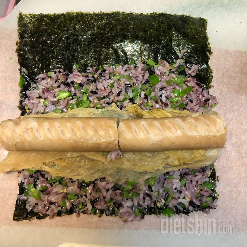 닭가슴살소세지 땡초 묵은지 김밥!
