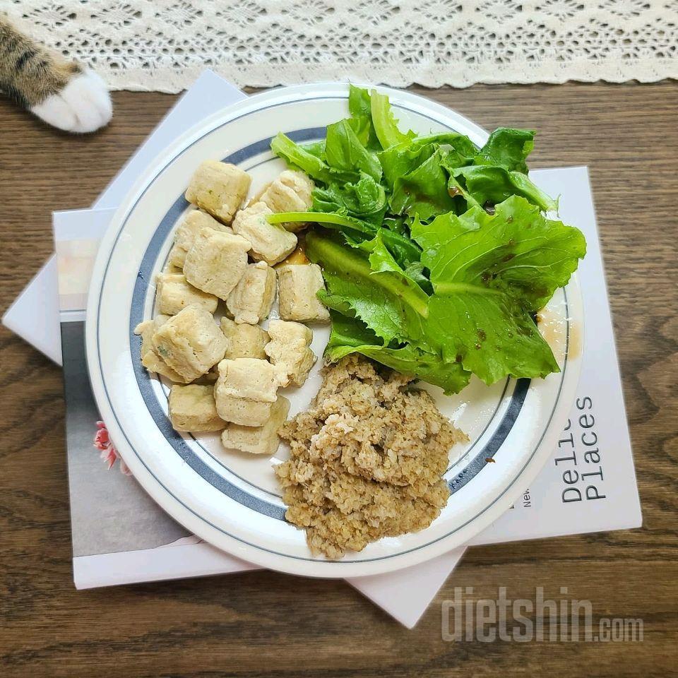 오트밀밥 닭가슴살큐브