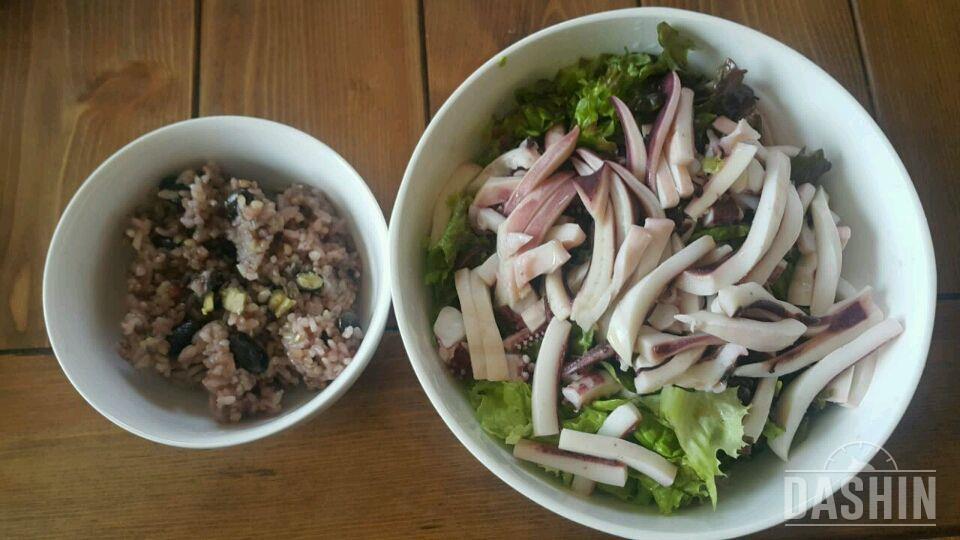 오징어 야채 비빔밥