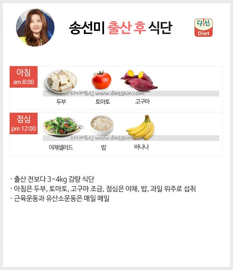 배우 송선미 식단표 (출산 후 식단)