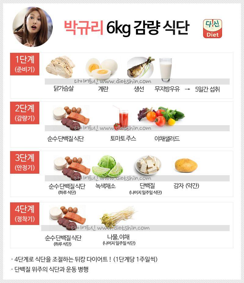 박규리 식단표 (6kg 감량 단백질 식단)