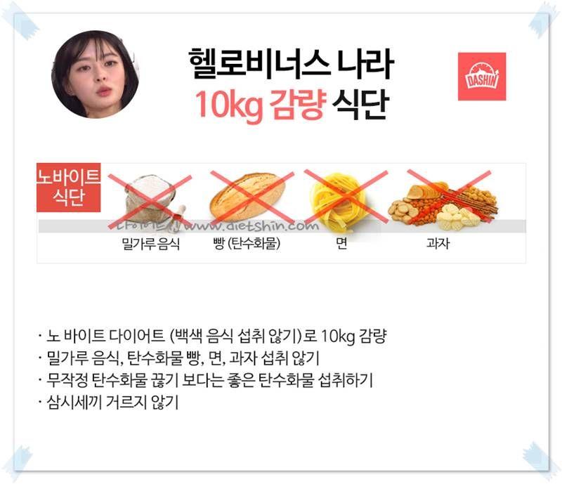 걸그룹 헬로비너스 나라 식단표 (10kg 감량)