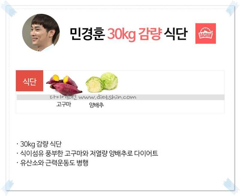 가수 민경훈 식단표 (30kg 감량 식단)