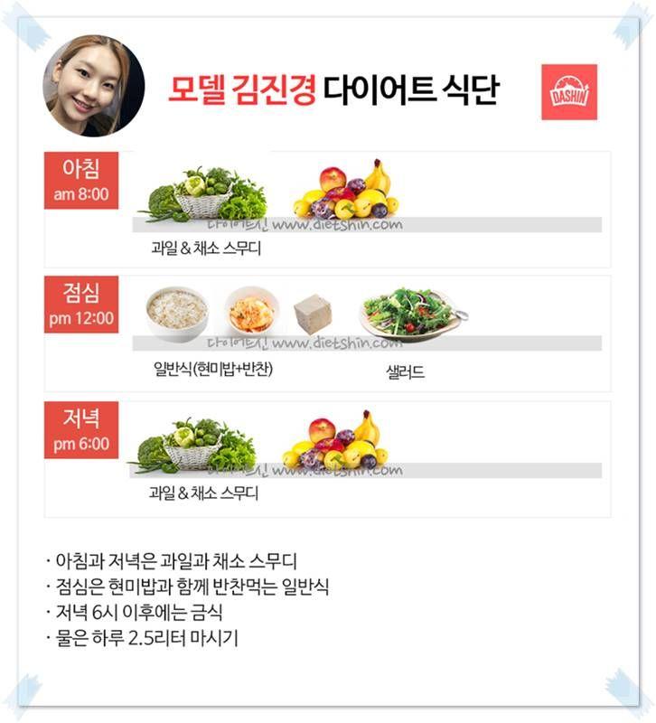 모델 김진경 다이어트 식단 (채소과일+일반식)