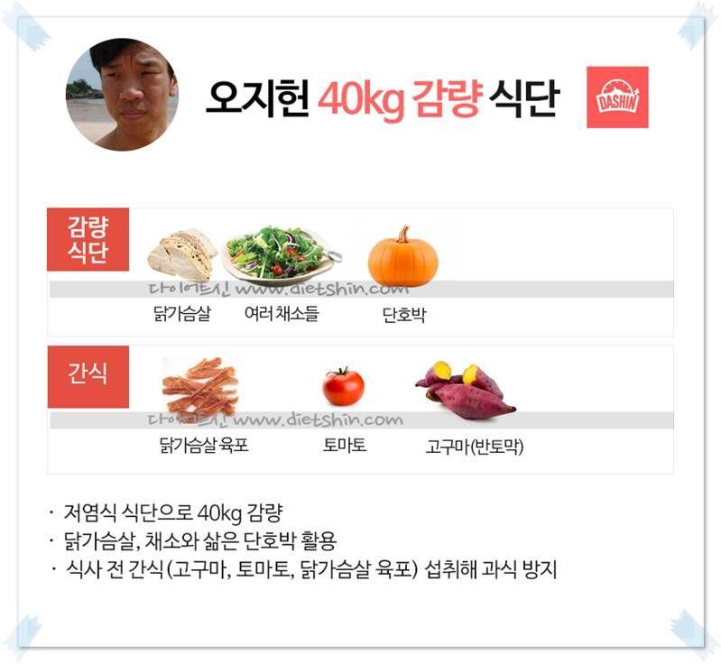 개그맨 오지헌 식단 (40kg 감량 식단)