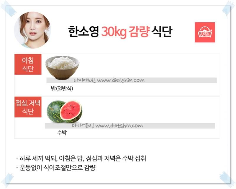배우 한소영 식단 (30kg 감량)