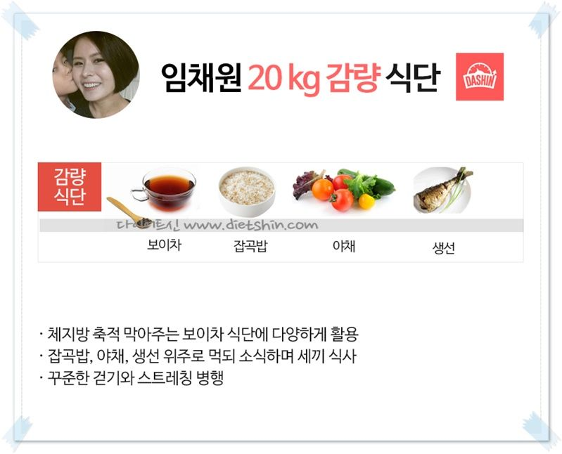 배우 임채원 식단표 (출산후 20kg감량)