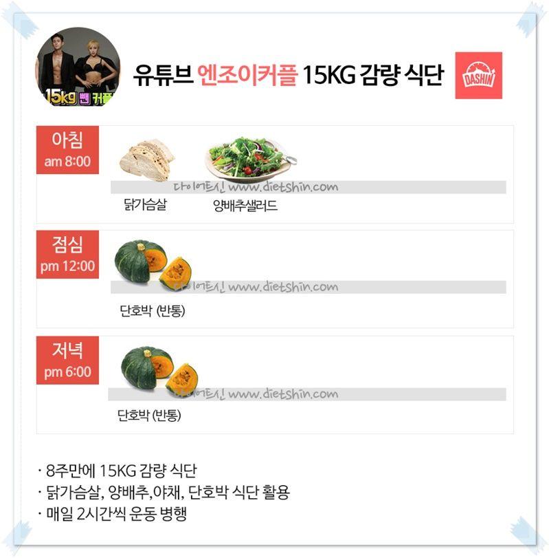 유튜버 엔조이커플, 감량기 (8주 15kg 감량 식단)