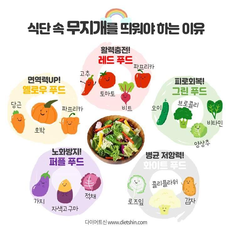 매일, 5가지 컬러채소를 먹어라?