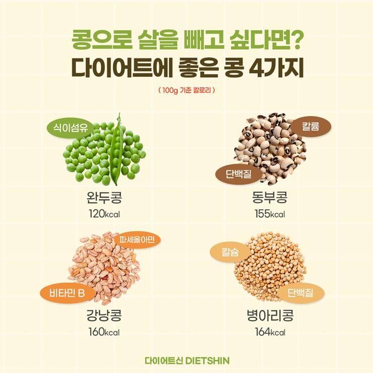 체중조절 할때, 100kcal대로 먹을 수 있는 '콩'들!