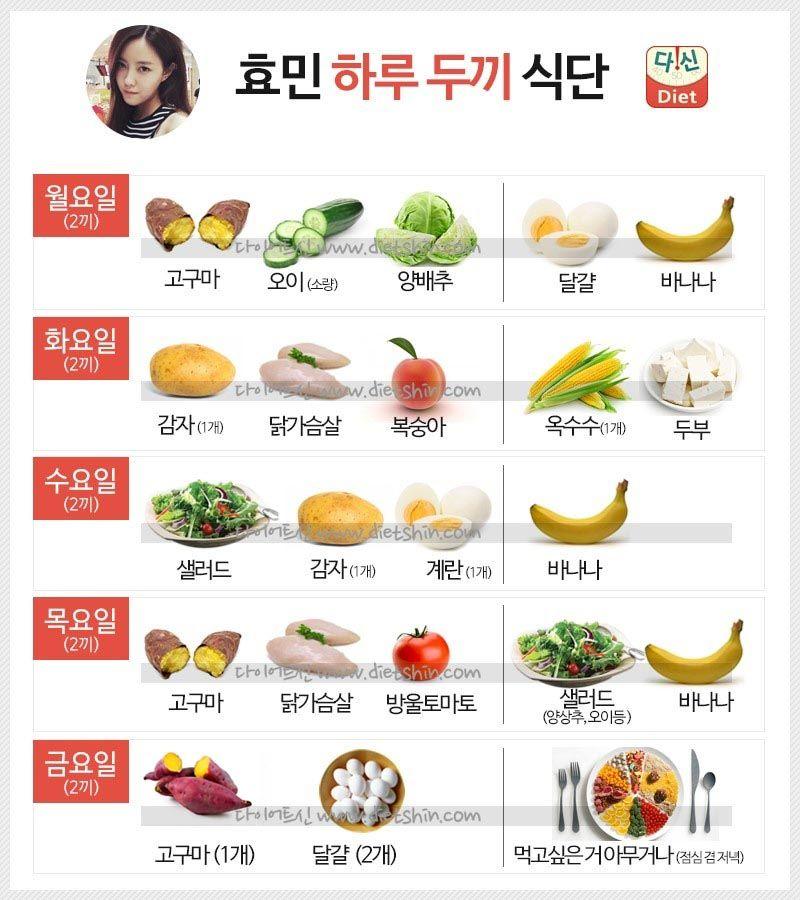 효민 식단표 (하루 두끼 식단)